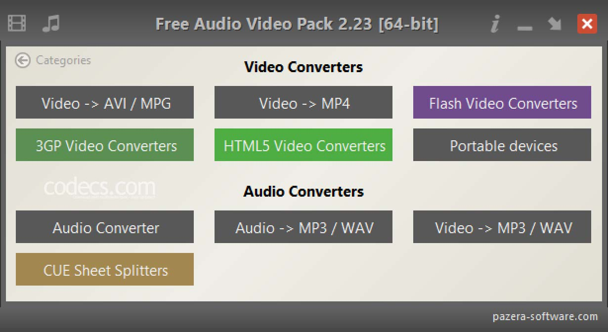 Pazera Free Audio Video Pack 2.22 screenshot